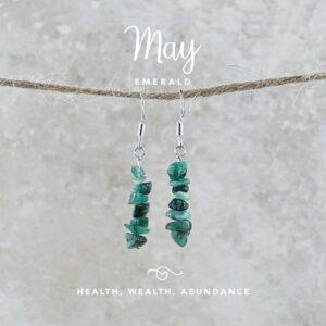 May Birthstone Earrings, Emerald