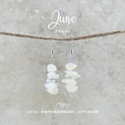 June Birthstone Earrings, Pearl