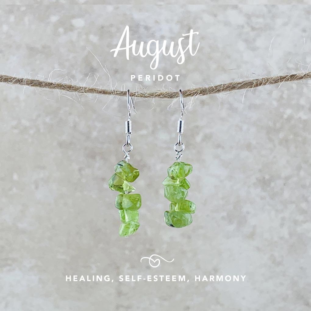 August Birthstone Earrings, Peridot