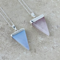 Necklaceopalite and rose quartz triangle