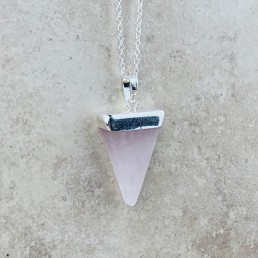 Rose quartz triangle necklace