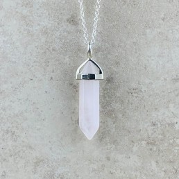 Clear quartz point necklace1