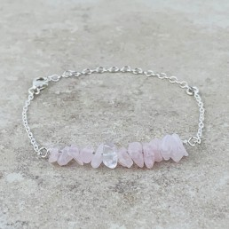 Rose quartz birthstone bracelet silver