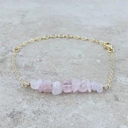 Rose quartz gold Birthstone Bracelet
