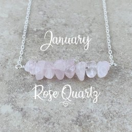 Rose Quartz Birthstone Necklace