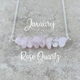 Rose Quartz Birthstone Necklace