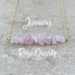 Rose quartz gold Birthstone Necklace