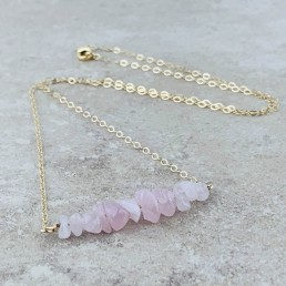 Rose Quartz Birthstone gold necklace
