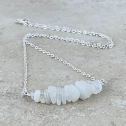 Moonstone silver Birthstone Necklace