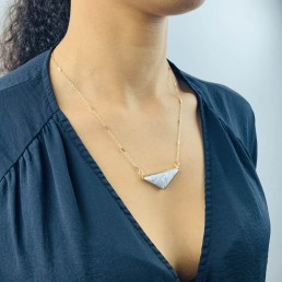 Howlite wide triangle necklace model