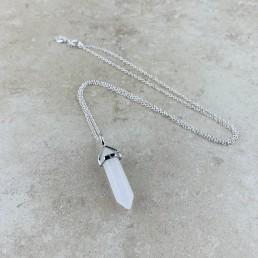 clear quartz point necklace1