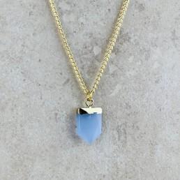 Blue aventurine shield necklace1