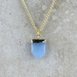 Blue aventurine shield necklace
