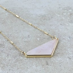 Rose quartz wide triangle necklace