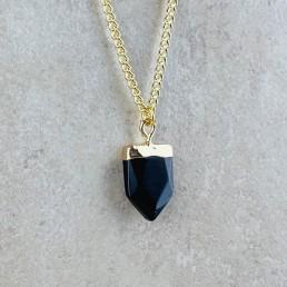 Onyx shield necklace