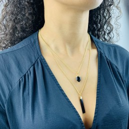 double chain onyx necklace model2