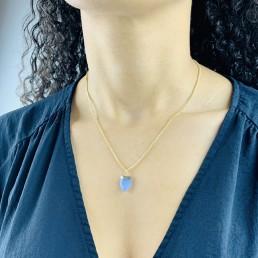 Blue aventurine shield necklace model
