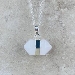Clear Quartz hexagon necklace2
