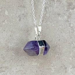Amethyst hexagon necklace