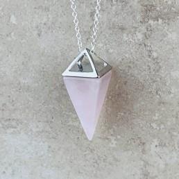 Silver rose quartz pyramid necklace