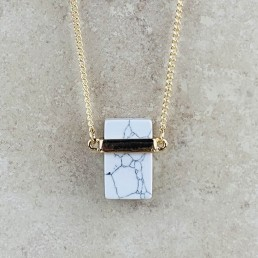 Howlite rectangle necklace2