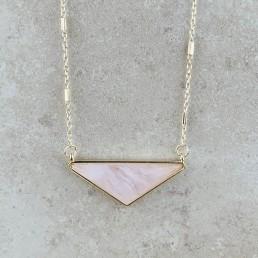 Rose quartz wide triangle 1