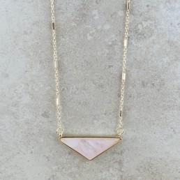 rose quartz wide triangle necklace 3