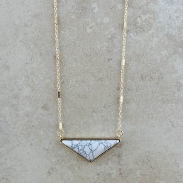 Howlite wide triangle necklace1