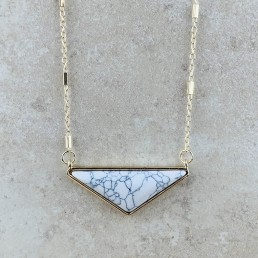 Howlite wide triangle necklace