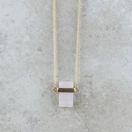 Rectangle rose quartz necklace