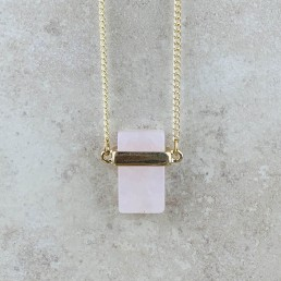 Rose quartz rectangle necklace