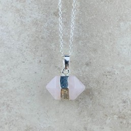 rose quartz hexagon necklace 1