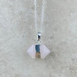 rose quartz hexagon necklace 1